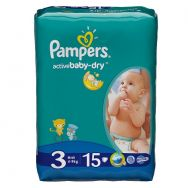 Pampers Active Baby-dry 3 (4-9 кг) №15 подгузники